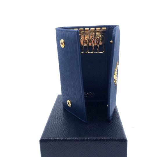 Prada Prada Women's Portachiavi Ganci Blue Vitello Move Key Holder 1PG222 Image 4