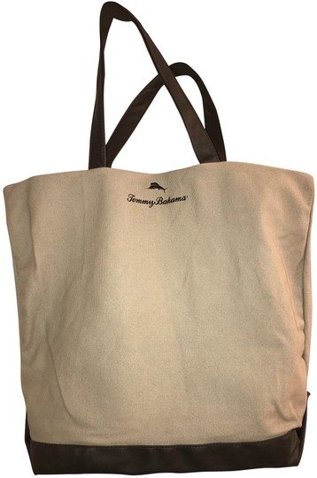 Preload https://img-static.tradesy.com/item/25030526/tommy-bahama-nwot-snap-closure-tan-and-brown-canvas-faux-leather-tote-0-1-540-540.jpg