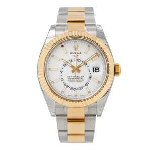 Rolex ROLEX SKY-DWELLER 326933 42MM WHITE DIAL WITH TWO TONE BRACELET