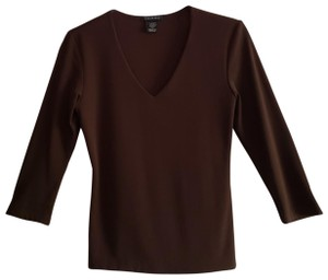 Carilyn Vaile 3/4 Sleeve Brown Stretchy Top V Neck