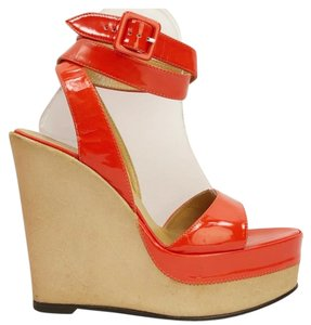 7e160cf62842 Hermès Signature Ankle Strap Boho European Contrast Orange Wedges