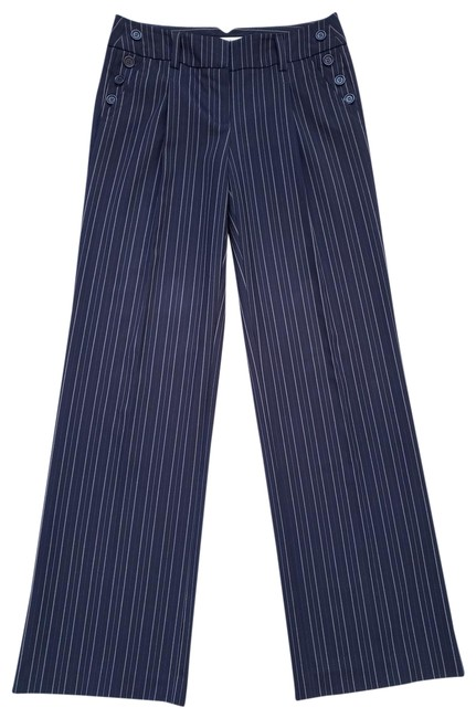 Item - Navy Blue White Pinstripe Pleated Trouser Pants Size 2 (XS, 26)