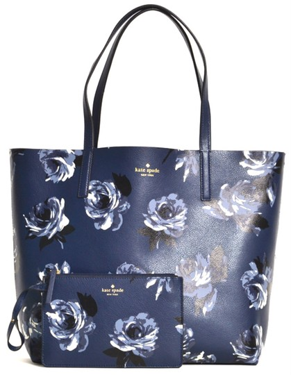 89c3072a56101 Kate Spade New Reversible Floral Pouch Navy Cow Leather Tote - Tradesy