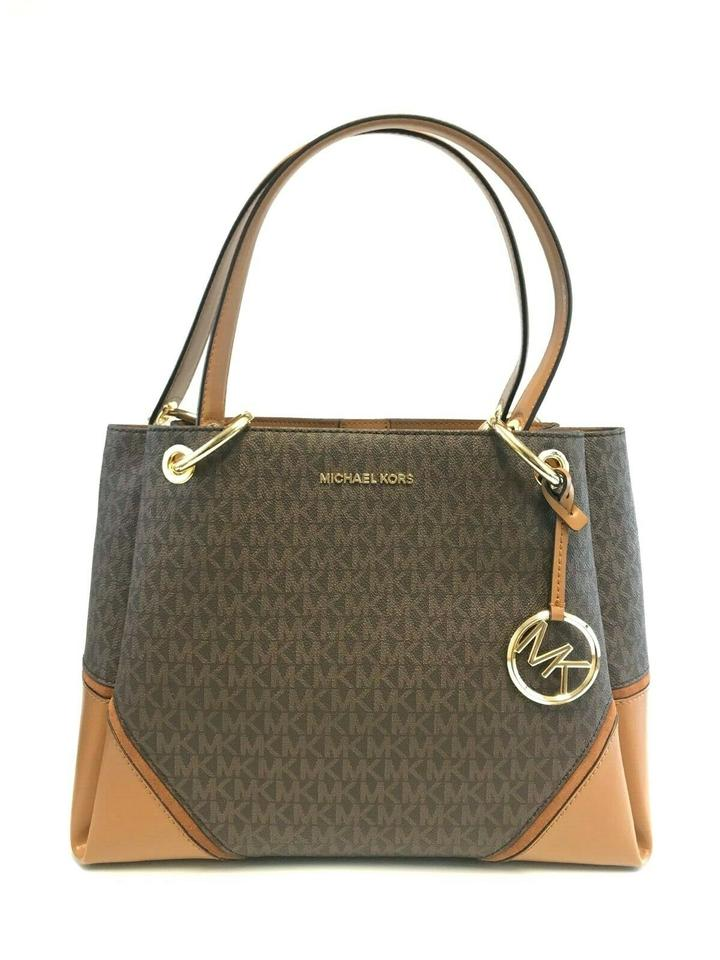 b723de71996b Michael Kors Women's Nicole Large Signature Tote Ha Brown Leather Pvc  Shoulder Bag