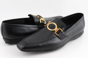 Versace Black Ostrich and Leather City Loafers Shoes
