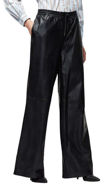 Item - Black Dark Rinse W Denim 8918 Leather Voluminous Track Pants W/ Drawstring Trouser/Wide Leg Jeans Size 28 (4, S)