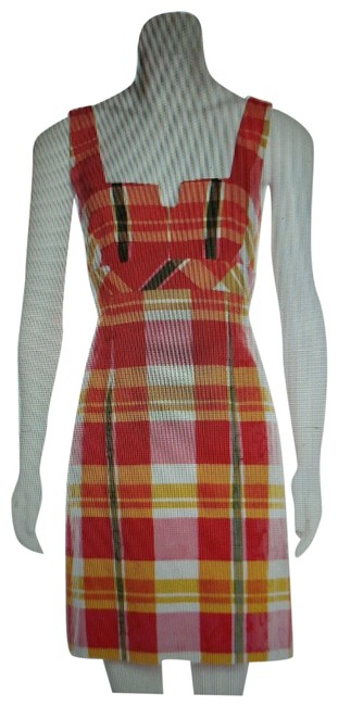 Item - Multicolor Color Plaid Print Sundress Short Casual Dress Size 0 (XS)