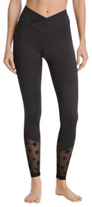 Beach Riot Crossover Waist Flocked Stars Black Leggings