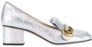 Gucci Loafer Mule Slide Flat Marmont silver Pumps