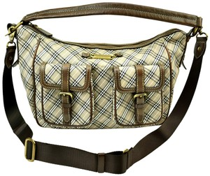 Burberry Blue Label Nova Check Brown Leather Logo Shoulder Bag