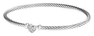 David Yurman Cable Collectibles Silver heart bracelet with diamonds