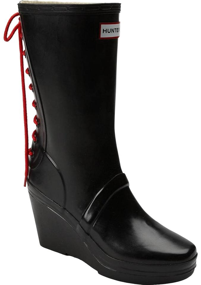 5a31716ac Hunter Black Verbier Wedge Lace Up Detail Red Mid Calf Boots/Booties. Size:  US ...