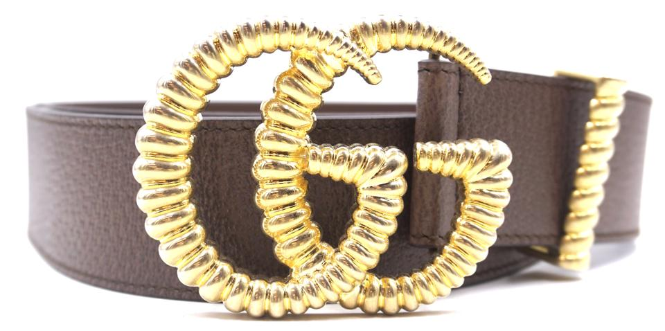2805c644148 Gucci RARE Marmont GG logo textured gold buckle leather Belt Size 95 38  Image 0 ...