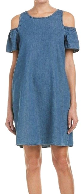 Item - Blue XS Denim Aline Cold-shoulder Above Women Short Casual Dress Size 2 (XS)