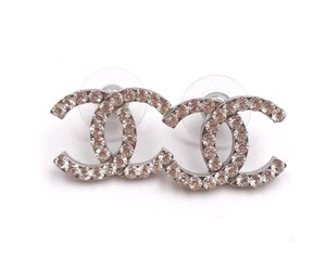 Chanel Chanel Classic Silver CC Round Crystal Earrings