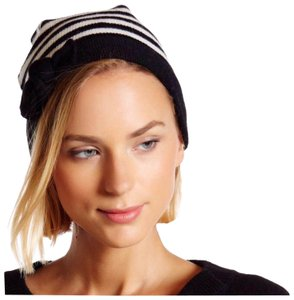 Kate Spade KATE SPADE SIGNATURE BLACK WHITE STRIPE BOW BEANIE