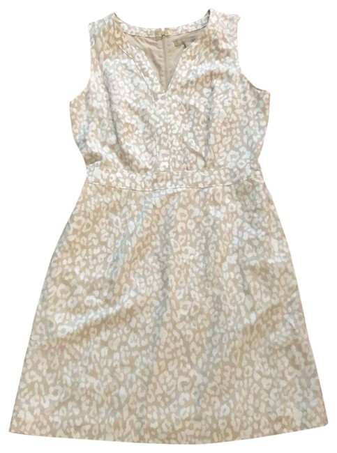 Item - Beige and Ivory Linen Blend Short Casual Dress Size 2 (XS)