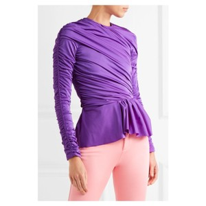 fe7f2243ff01e7 Balenciaga Top Purple. Balenciaga Purple Ruched Peplum Blouse Size ...