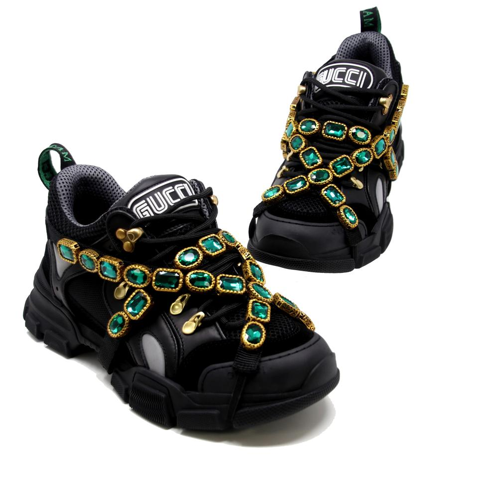d6e8e702642 Gucci Black Flashtek Sole Removable Crystal Jewels and Game Patch ...