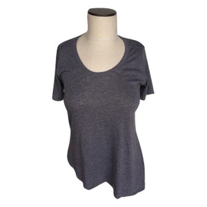 Chaser Scoop Neck Asymmetrical Stretchy Sleeve T Shirt Gray