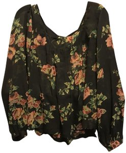 679caf992c826 Jessica Simpson Floral With Tags Long Sleeve Pleated Top Black
