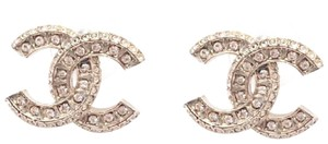 Chanel Chanel Classic Gold CC Crystal Block Piercing Earrings