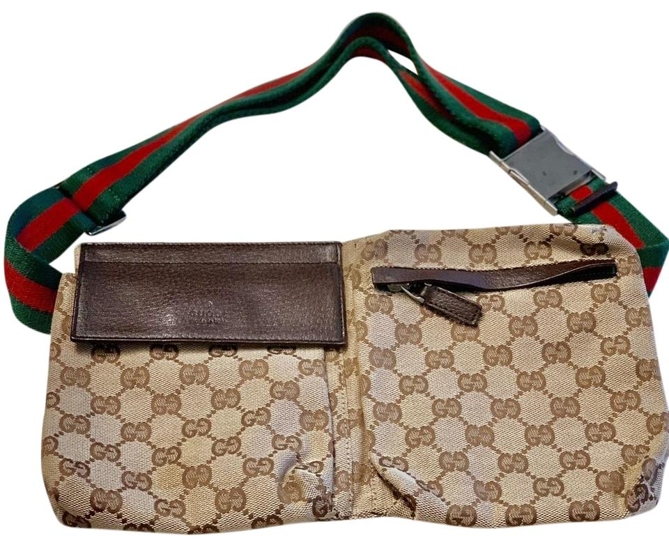 2261ff9656b7 Gucci Fanny Pack Brown Cloth with Leather Details Cross Body Bag ...