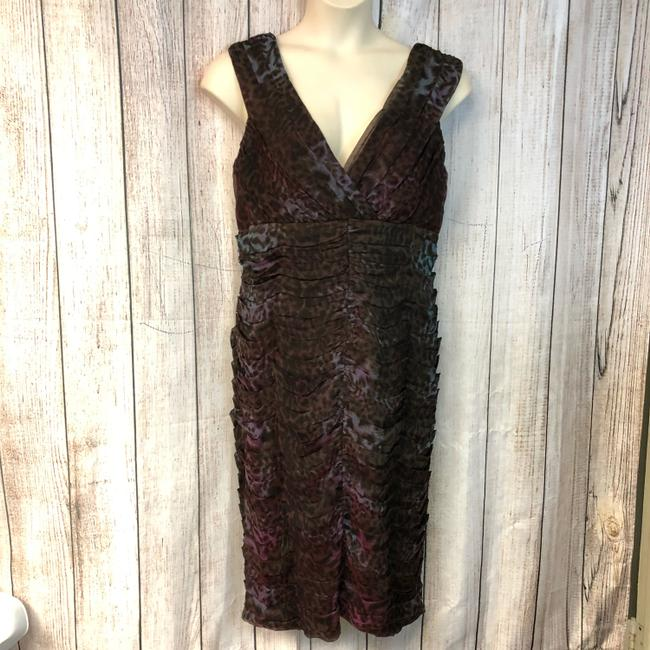 Item - Multicolor Animal Print Pleated Bodice Mid-length Night Out Dress Size 16 (XL, Plus 0x)