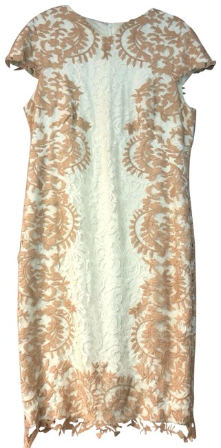 Item - White/Brown Embroidered Sheath Mid-length Short Casual Dress Size 18 (XL, Plus 0x)