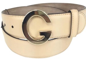 """Gucci Gucci #525040 Gold """"G"""" Buckle and Beige Leather Belt, 32""""-36"""" (90-36)"""