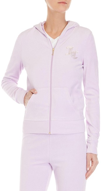 "Item - Orchid Lilac Crystal-scripted ""Jc"" Velour Jacket Style No. Owtkj147410 Activewear Outerwear Size 8 (M)"