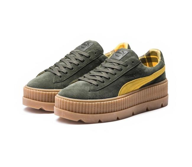 Item - Army Green Women's Cleated Creeper Suede Platform Sneakers Size US 7.5 Regular (M, B)
