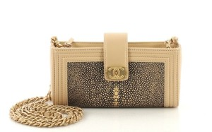 Chanel Chain Phone Holder Mini Beige,gold,black Clutch