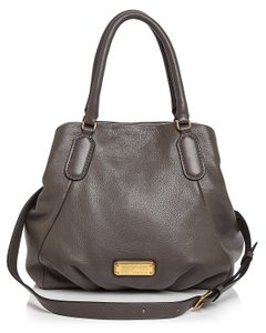 Marc Jacobs Mj Black Italian Leather Purse Tote in ALUMINUM GREY/Gold hardware