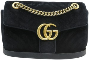 fe0f57de51a0 Gucci Marmont Small Gg Cross Body Black Velvet Shoulder Bag - Tradesy