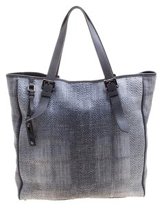 Burberry Raffia Nylon Tote in Grey