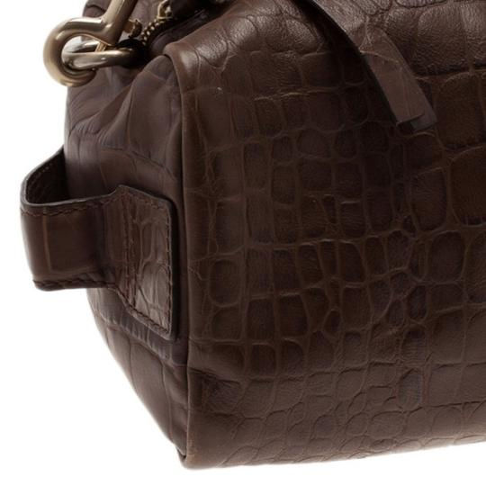 4913fd8c0d55 Givenchy Croc Embossed Duffle Brown Leather Shoulder Bag - Tradesy