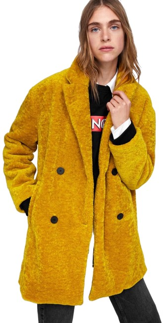Item - Mustard Yellow Textured Double Breasted Oversized Coat Size 8 (M)
