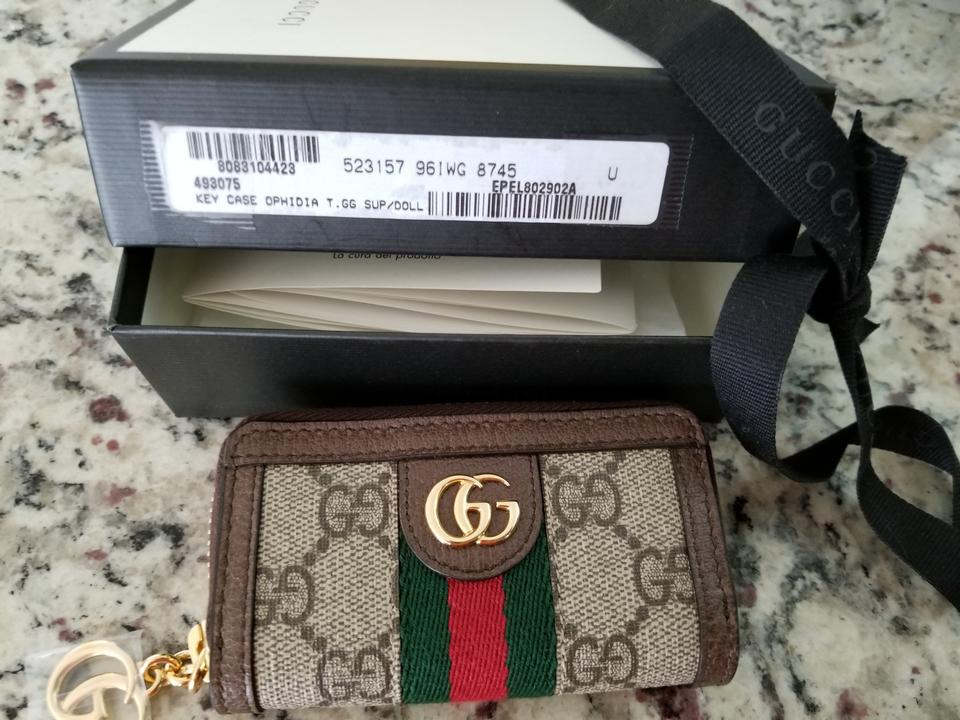 the best attitude 69e81 0a330 Gucci Nwot Ophidia Key Chain Brown Canvas and Leather Clutch