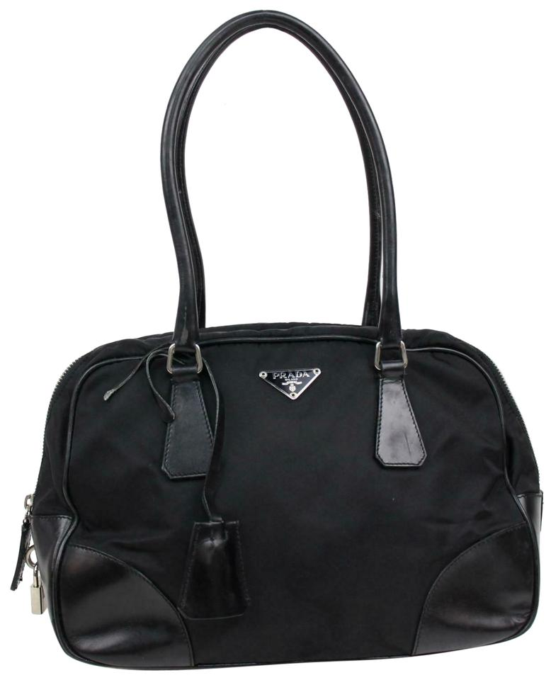 Prada Bowling Bag Satchel Bowler Style Purse Black Leather And Canvas With Chrome Accents