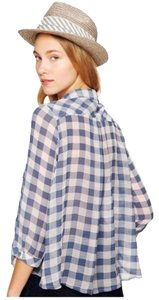 Free People Button Down Shirt Blue & Cream