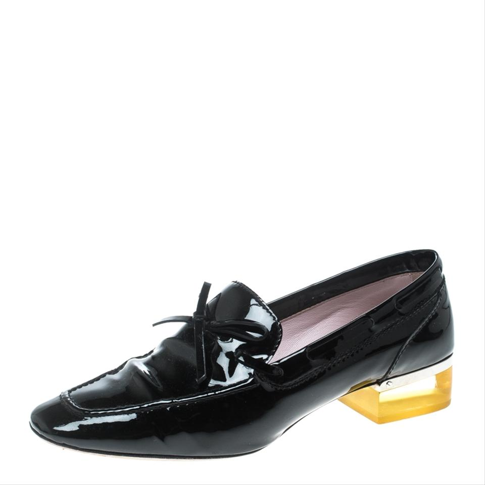 8a9bb7c0c7f Dior Black Patent Leather Swing Lucite Heel Bow Loafer Pumps. Size  EU ...