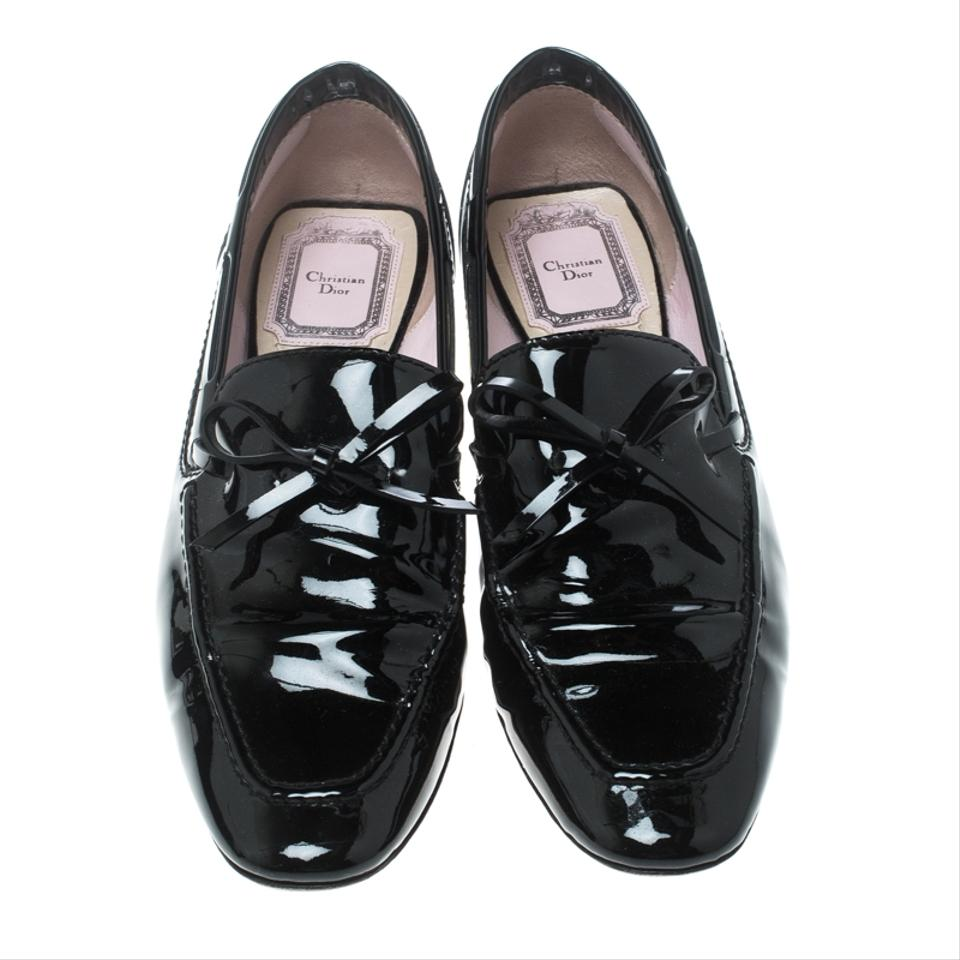 49aaef0d7a8 Dior Black Patent Leather Swing Lucite Heel Bow Loafer Pumps Size EU 37.5  (Approx. US 7.5) Regular (M