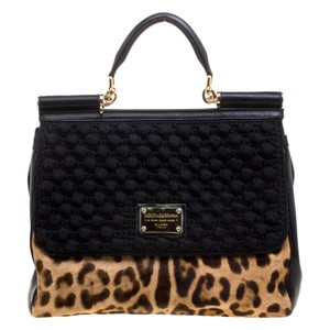 Dolce&Gabbana Calf Hair Leather Tote in Black