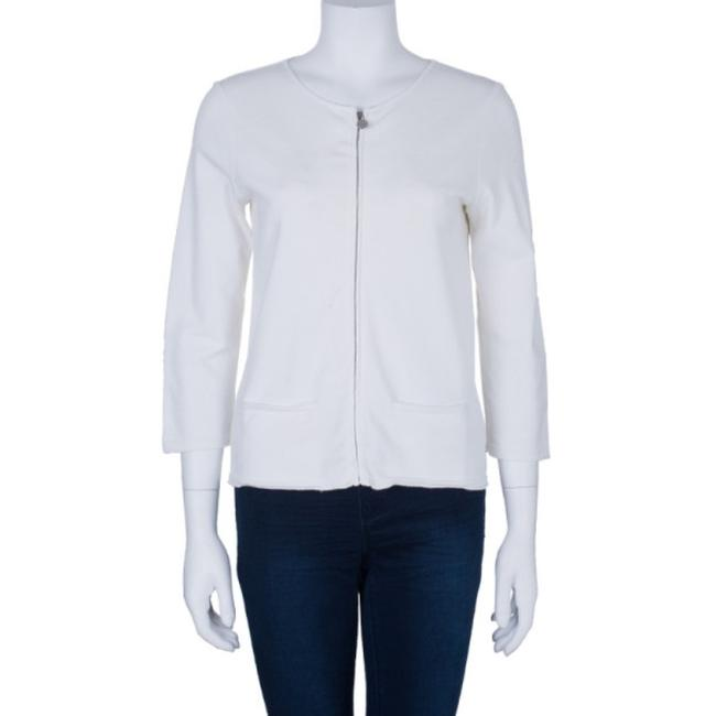 Chanel White Zip Front Knit Jacket M Image 1