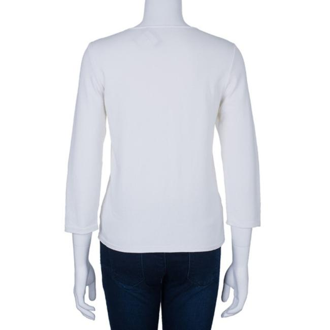 Chanel White Zip Front Knit Jacket M Image 2