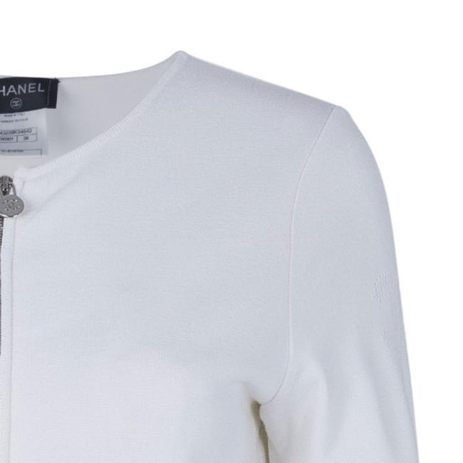 Chanel White Zip Front Knit Jacket M Image 7