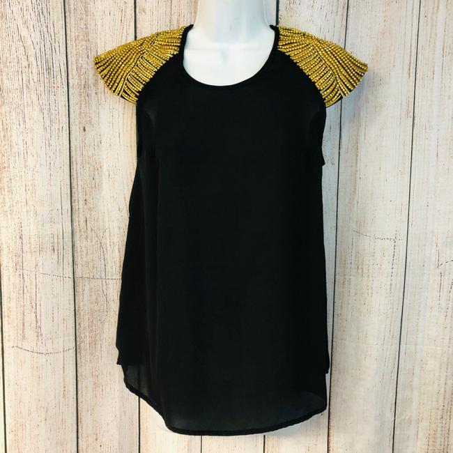 Preload https://img-static.tradesy.com/item/25035955/romeo-and-juliet-couture-black-romeo-and-juliet-gold-embellished-trim-s-blouse-size-4-s-0-0-650-650.jpg