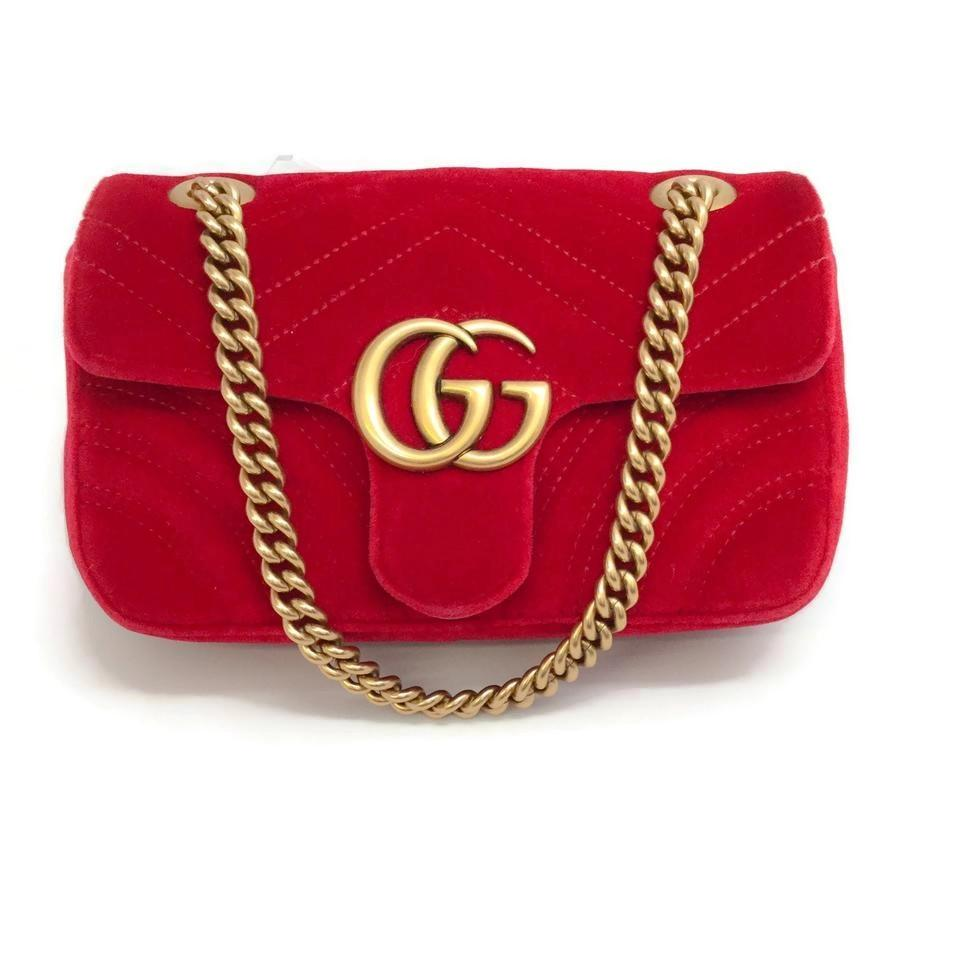 239d29577867 Gucci Marmont Mini Hibiscus Red Velvet Shoulder Bag - Tradesy