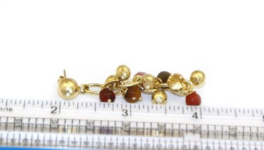 Other Italy 14k Yellow Gold Multi-Color Gems Cluster Bead Drop Dangle Earrin